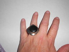 Paparazzi Ring one size fits most (new) SQUARE SILVER RING W/LG BLACK STONE