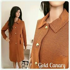 Vintage 60s Orange Brown Stripe Military Wool Jacket Coat Mod 10 38
