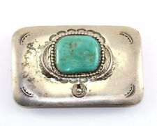NAVAJO PMK SIGNED Sterling Silver Belt Buckle With Turquoise Stone OT 39