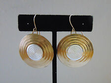 Signed MB SF Marjorie Baer San Francisco Two Tone Round Brass Dangle Earrings