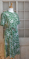 1940s vintage dress cotton shirt waister frock green summer 16 - 18