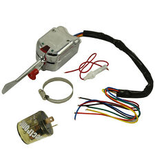 Chrome 12V Universal Street Hot Rod Turn Signal Switch For FORD GM With Flasher