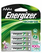 4/pack AAA Energizer Rechargeable NiMH Batteries EXP 2021, AAA4 Recharge 800 mAh
