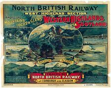Vintage Rail travel railway poster  A4 RE PRINT West Highlands of Scotland