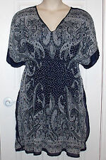 Casual Patio Dress Size 2X Dark Blue Gray Paisley Empire Swim Wear Cover Up NEW