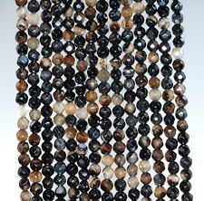 4MM  AGATE GEMSTONE DARK BROWN FACETED ROUND LOOSE BEADS 15""