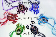 wholesale Lots 6set leaf Murano glass pendant Silver P necklaces earring FREE