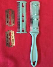 Dog Shredding Comb Blade AQUA GREEN Grooming Aid Dead Hair Remover Trimming 7""