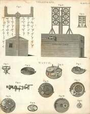 1802  The Telegraph Offices Cabin Mechanism Of A Watch Copperplate