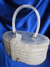 VINTAGE RARE WILARDY WHITE PEARLIZED ROWS OF RHINESTONES LUCITE PURSE-STUNNING!!