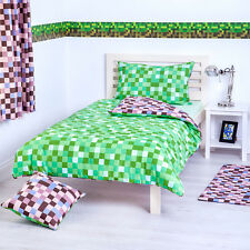 Green & Brown Pixels Single Bed Size Duvet Cover Set & Pillowcase Children's Kid