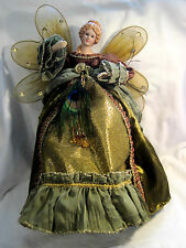 "15 1/4"" Christmas Angel Tree Topper Or For Table Jewel Tones & Peacock Feather"