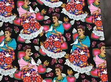 "COTTON Fabric Folk Frida Kahlo on black floral birds burning hearts 45""w, BTY"