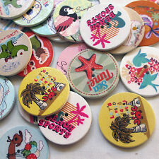 New 50pcs Beach Theme Wood Round Buttons 32mm Sewing Craft