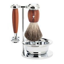 Muhle VIVO Plum Wood Shaving Set - Stand, Bowl, Safety Razor, Shaving brush