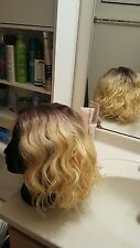 Human Hair Blend Front Lace wig Blonde Dark roots Beyonce wavy bob