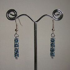 New Silver & Ice Blue Byzantine Weave Chain Maille Silver Plated Drop Earrings