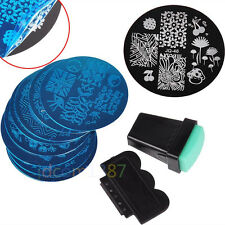 10 Design Stencil Nail Art Image Stamp Stamper Plate Manicure Template Tool Set