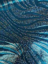 """Zebra Turquise Silver Hologram 4-Way Stretch Spandex 60"""" Wide Fabric By The Yard"""