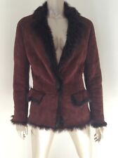 Gucci Womens Lambskin Shearling Fur Burgundy Suede Leather Coat Size 38
