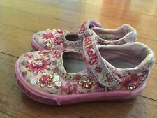 Lelli Kelly 6.5 23 Pink Beaded Sparkles Flowers Beads Velcro Mary Jane Shoes
