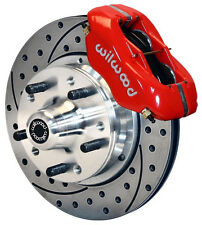 "WILWOOD DISC BRAKE KIT,FRONT,87-93 MUSTANG,11"" DRILLED ROTORS,RED CALIPERS"