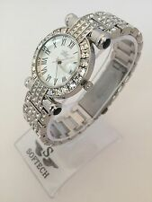 Silver Tone Diamante Ladies Women Fashion Bracelet Softech Quartz Wrist Watch