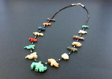 Hand Carved Single Strand Buffalo Multicolored Mixed Animals Fetish Necklace