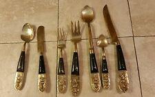 Vintage MID CENTURY Brass Bronze Wood Handle SIAM Thai Dancer Flatware Set