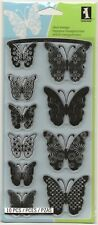Inkadinkado Brand Clear Acrylic Stamp Set -- NEW --Patterned Butterflies (#330)