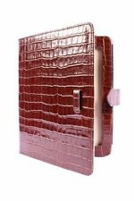 Ipad 2 3 & 4 Brown Croc Print Luxury Real Genuine Leather Cover Case Stand Pouch