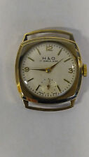 9CT SOLID GOLD MENS CUSHION WATCH H&G 17 JEWELS WATCH LONDON WORKING SERVICED