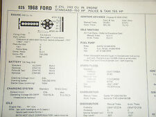 1968 FORD POLICE TAXI 240 CU IN 155 HP STANDARD 150 HP SUN TUNE UP SPECS SHEET