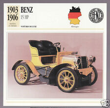1903-1906 Benz 15 hp Mercedes Car Photo Spec Sheet Info French Card 1904 1905
