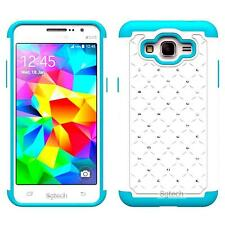 White HYBRID DIAMOND TEAL SILICONE CASE For Samsung Galaxy Grand Prime SM-G530W