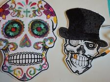 2 large skull sequin applique patch motif iron sew on embellishment hotfix UK