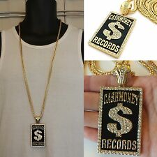 MENS NEW ICED OUT HIP HOP GOLD CASH MONEY RECORDS PENDANT FRANCO CHAIN NECKLACE