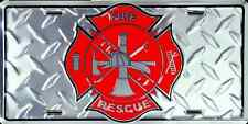 FIRE FIGHTER CAR TRUCK TAG DIAMOND LICENSE PLATE FIRE & RESCUE FIREMAN SIGN