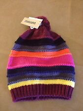 NWT Burton 8 womens Candy Striper Multi-Color with Maroon Pom Beanie Sangria