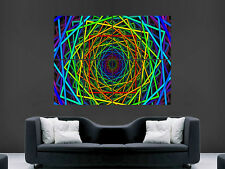 TRIPPY NEON SQUARES ART WALL PICTURE POSTER  GIANT HUGE