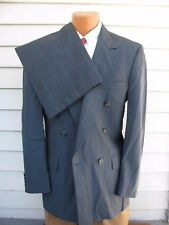 Burberry's 40L Two Pc Wool Suit Mens Gray Striped Lined Double Breasted EUC