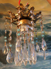 Brass Spelter Opaline beaded hanging lamp mini Chandelier Crystal prisms