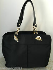 NWT Tommy Hilfiger black nylon faux leather tote bag purse 3-compartment $118