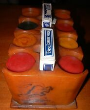 Vintage AMBER BAKELITE RACK & 200 Red, Butterscotch, Green Bakelite Poker Chips
