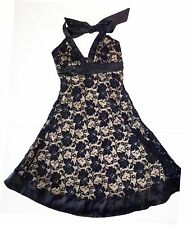 *NWT* FOREVER WOMENS TEENS HALTER DRESS WITH BLACK LACE SIZE SMALL T62 A1