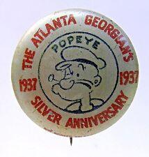 rare 1937 POPEYE ATLANTA GEORGIAN'S Silver Anniversary tin litho pinback button*