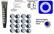 100 Fabric Self Cover Button Earring 15mm DIY Kit Stud Stainless Steel New Style