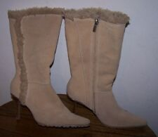 """SUZANNE SOMERS Suede Boots - Tan - Fur Lined - 3.5"""" Heel - Size 8M - EUC!"""