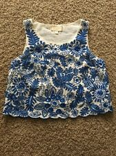 Anthropologie Moulinette Soeurs Crop Top Embroidered Sequin White Blue 0 XS