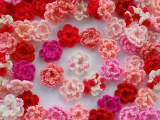 100! Double Crochet Wool Flowers - Romantic Pink & Red Colour Mix - 2.5cm/1""